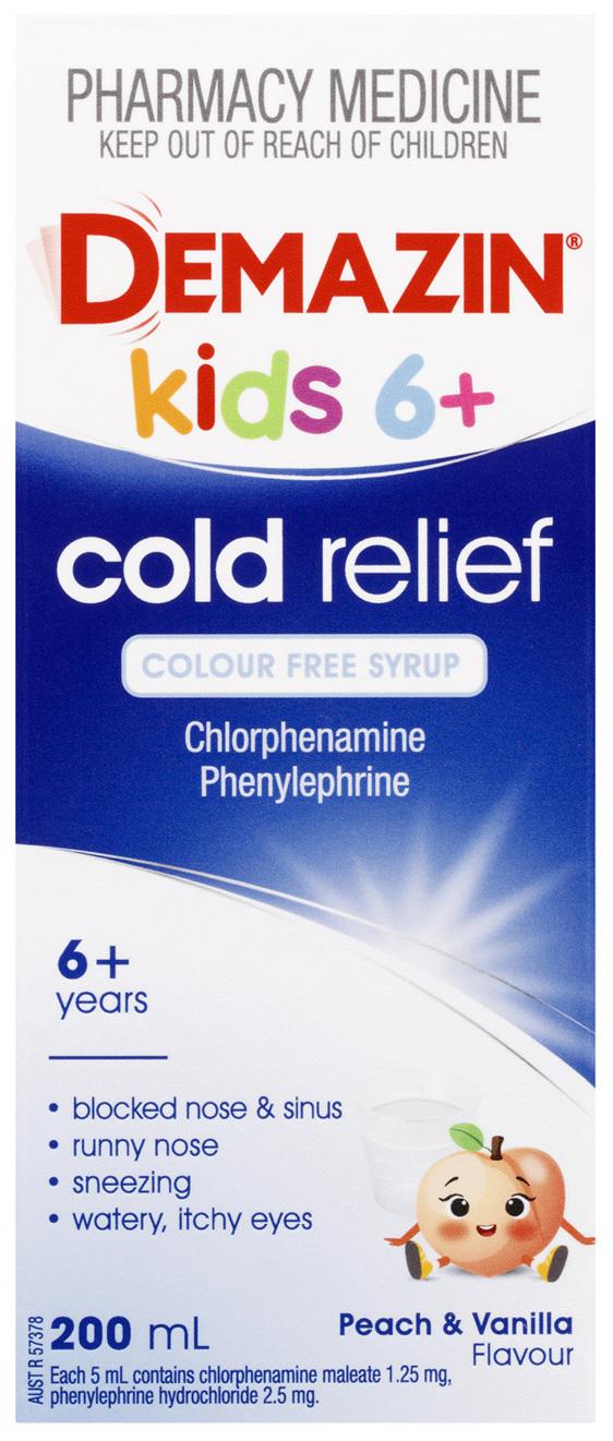 Demazin Cold Relief Colour Free Syrup 200mL