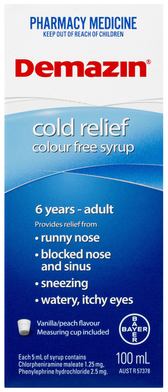 Demazin Kids 6+ Cold Relief Colour Free Syrup 100mL