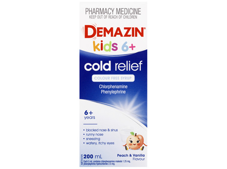 Demazin Kids 6+ Cold Relief Colour Free Syrup 200mL