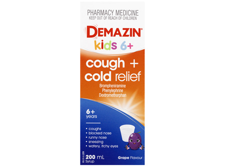 Demazin Kids 6+ Cough & Cold Relief Syrup 200mL