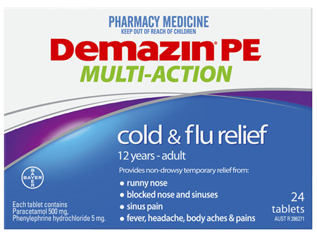 Demazin PE Multi-Action Cold & Flu Relief 24 Tablets