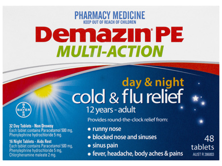 Demazin PE Multi Action Cold & Flu Relief Day & Night 48 Tablets