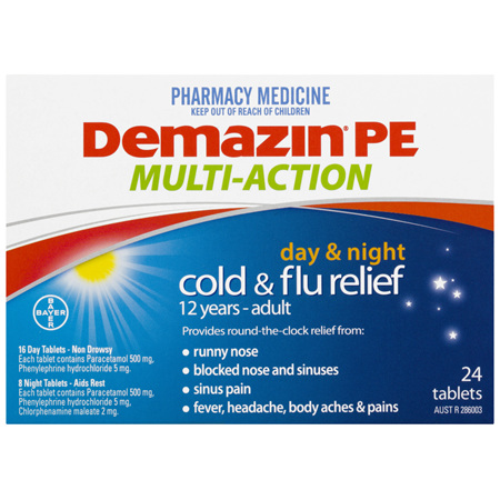 Demazin PE Multi Action Cold & Flu Relief Day & Night 24 Tablets