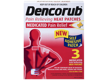 Dencorub Self Adhesive Heat Patches 3 Pack