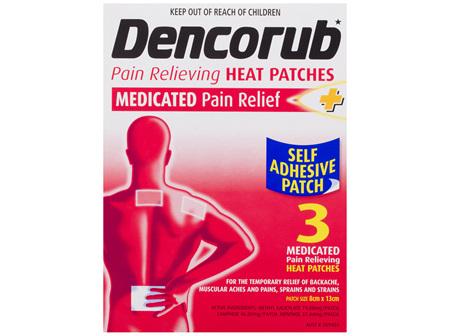 Dencorub Self Adhesive Heat Patches 3 Pack