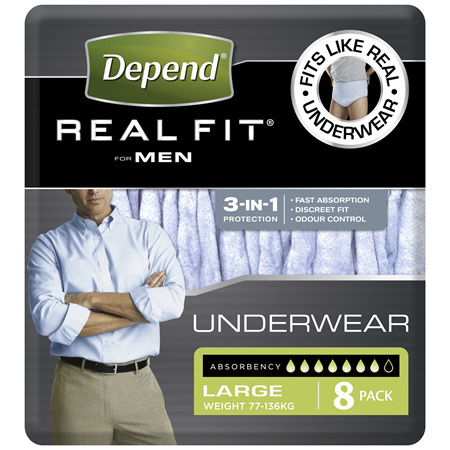 Depend Real Fit For Men Underwear, Heavy Absorbency, Large, 8 Pants