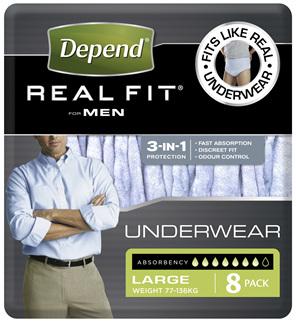 Depend Real Fit For Men Underwear, Heavy Absorbency, Large, 8 Pants