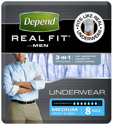 Depend Real Fit For Men's Underwear Medium 8 Pants