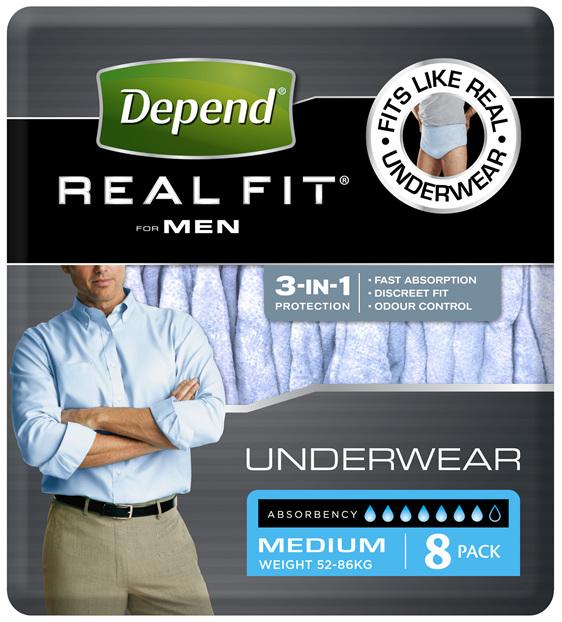 Depend Real Fit For Men's Underwear Medium 8 Pants