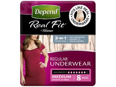 Depend Real Fit For Women Underwear, Heavy Absorbency, Medium, 8 Pants