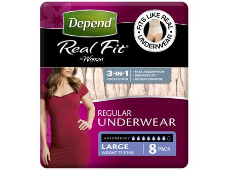 Depend Real Fit For Women Underwear, Heavy Absorbency, Large, 8 Pants