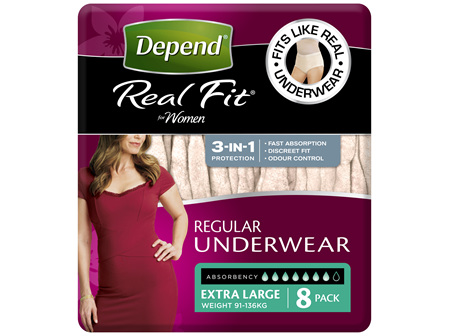 Depend Real Fit For Women Underwear, Heavy Absorbency, X-Large,8 Pants