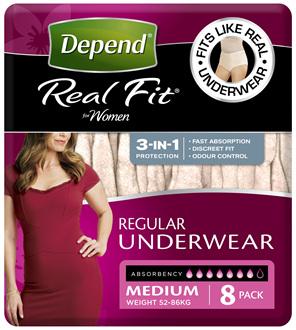 Depend Real Fit For Women Underwear Heavy Absorbency Medium 8 Pack