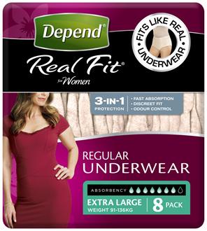 Depend Real Fit For Women Underwear, Heavy Absorbency, X-Large,8 Pants