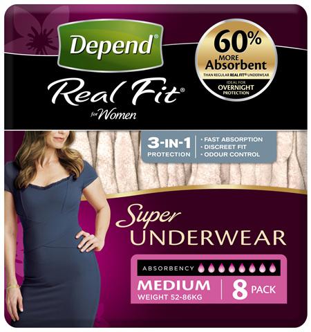 Depend Real Fit For Women Underwear, Super Heavy Absorbency, Medium, 8 Pants