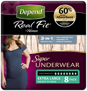 Depend Real Fit For Women Underwear Super Heavy Absorbency X-Large 8 Pack