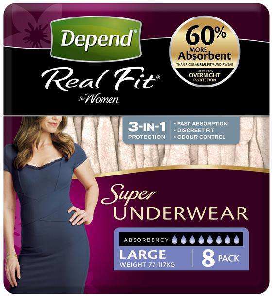 Depend Real Fit For Women Underwear, Super Heavy Absorbency, Large, 8 Pants