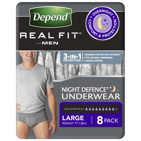 Depend Real Fit Men's Night Defence Underwear 8 Pack