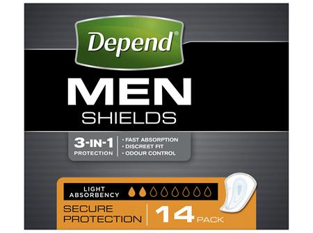 Depend Shields for Men Light Absorbency 14 Pack
