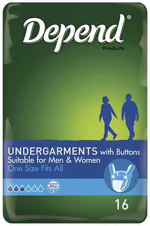 Depend Undergarments with Buttons, Unisex, One Size Fits All, 16 Pack
