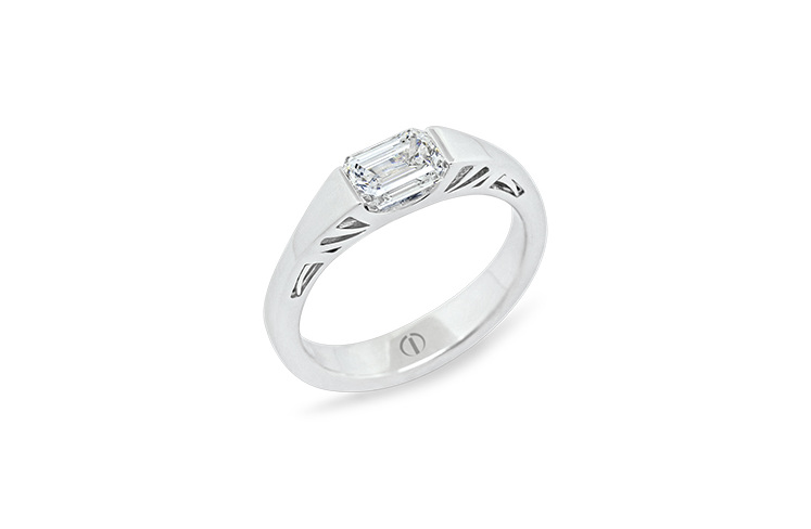 Designer art deco white gold emerald cut diamond engagement ring