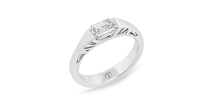 Designer art deco white gold emerald cut diamond engagement ring