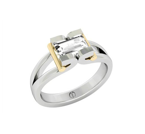 Designer baguette cut diamond platinum and gold engagement ring