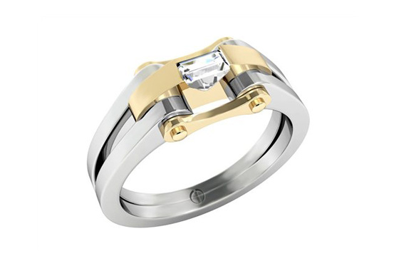 Designer baguette cut diamond platinum yellow gold engagement ring