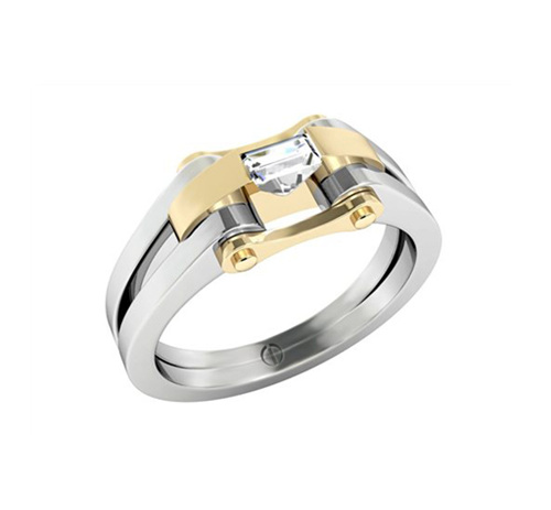Designer baguette cut diamond platinum yellow gold engagement ring