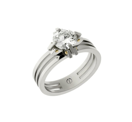 Designer claw setting platinum and gold round brilliant diamond engagement ring