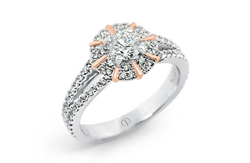 Designer diamond cluster white and rose gold engagement dress ring