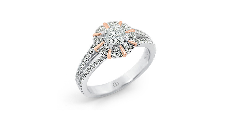 Designer diamond cluster white and rose gold engagement dress ring