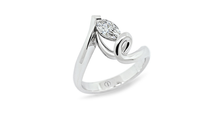 Designer marquise cut diamond platinum twist engagement ring