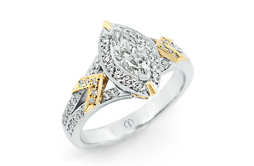 Designer marquise diamond white yellow gold engagement dress ring