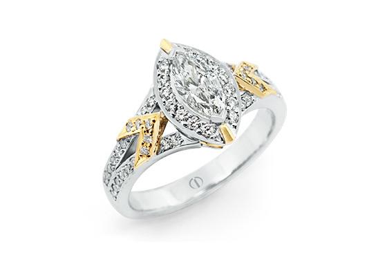 Designer marquise diamond white yellow gold engagement dress ring