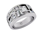 Designer multi stone princess and baguette cut diamond platinum engagement ring