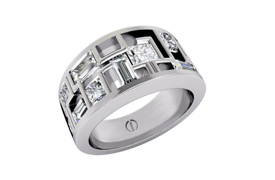 Designer multi stone princess and baguette cut diamond platinum engagement ring