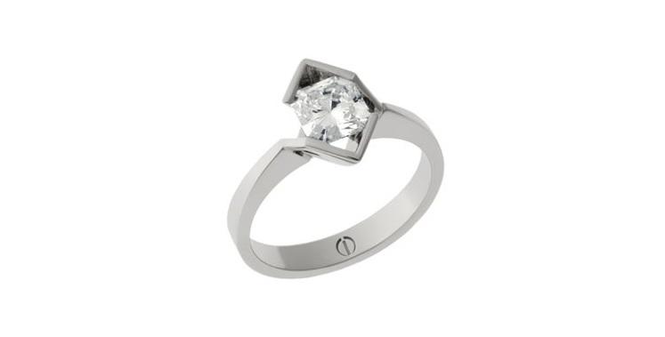 Designer octagonal cut diamond platinum engagement ring