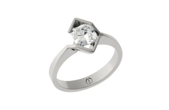 Designer octagonal cut diamond platinum engagement ring