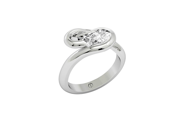 Designer pear shaped diamond flowing platinum engagement ring