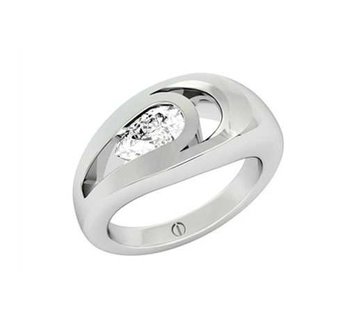 Designer pear shaped diamond platinum engagement ring