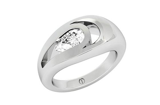 Designer pear shaped diamond platinum engagement ring