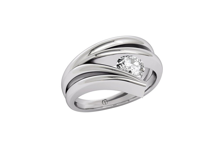 Designer platinum wave round brilliant diamond ring