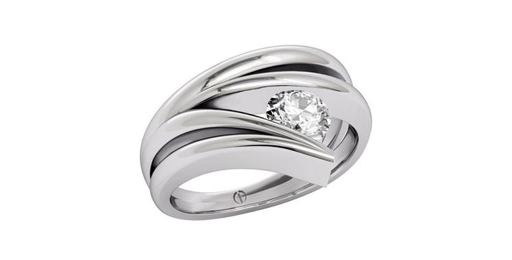 Designer platinum wave round brilliant diamond ring