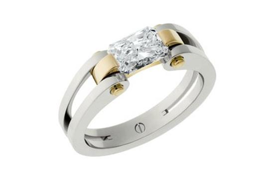 Designer radiant cut diamond platinum and gold engagement ring