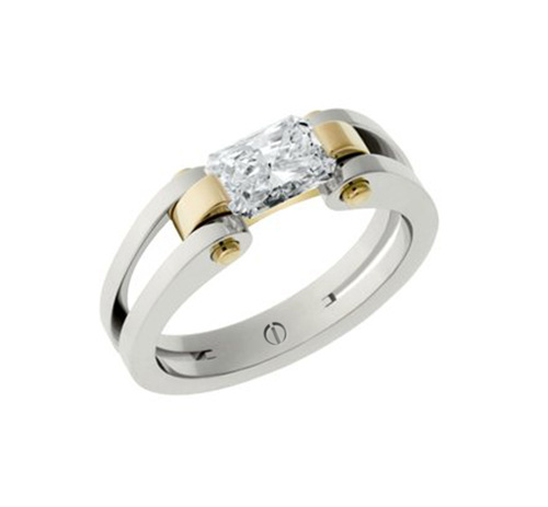 Designer radiant cut diamond platinum and gold engagement ring