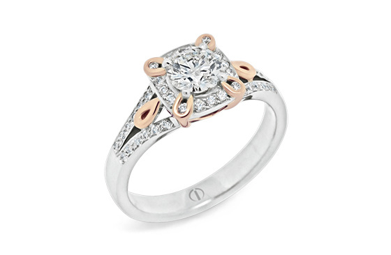 Designer rose and white gold diamond cluster engagement dress ring