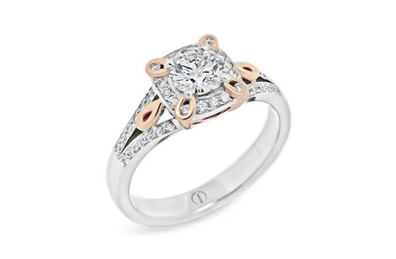 Designer rose and white gold diamond cluster engagement dress ring