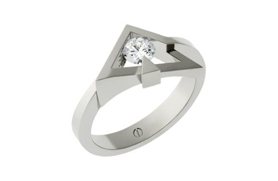 Designer round brilliant diamond angled platinum engagement ring