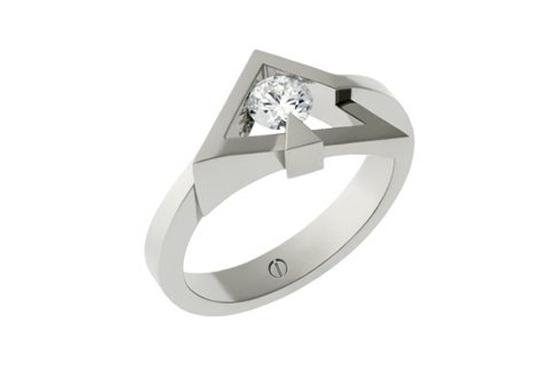 Designer round brilliant diamond angled platinum engagement ring